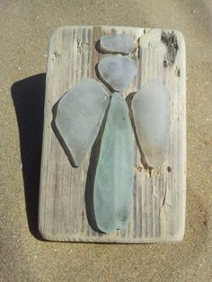 Sea glass Angels on driftwood. Found on Margate by LovefromMargate, £20.00