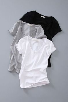Basic tee in black, gray, and white. Clothing Photography, Fashion Photography, My Wardrobe, Capsule Wardrobe, Looks Style, My Style, How To Have Style, Fashion Still Life, Jugend Mode Outfits