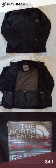 Women's North Face jacket Super cute black North Face gore tex jacket. Zip and snap front. Multiple zip pockets. Excellent condition. There is a name on tag North Face Jackets & Coats