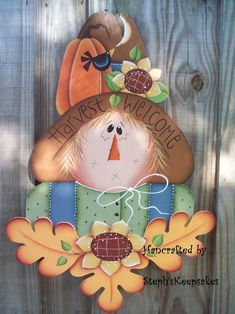 2014 Harvest Welcome Scarecrow Craft - Thanksgiving Wall Hanging, Home decor, Holidays #2014 #Thanksgiving