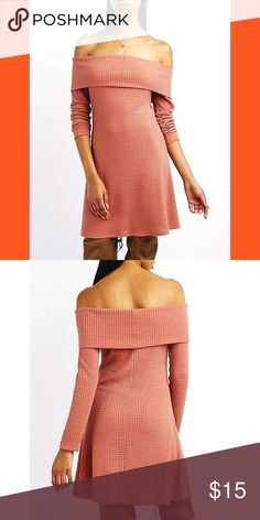 Waffle Knit Off-The-Shoulder Swing Dress Waffle Knit Off-The-Shoulder Swing Dress 💕 Dusty rose color 💕 perfect for fall 🍂🍁 More pics to come of actually dress. Worn once ✨🛍 Charlotte Russe Dresses
