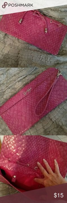 Jessica Simpson Pink Snake Skin Clutch?? Jessica Simpson, Pink Snake Skin Clutch, great for summer!?? Little purse to run around or out for a date night! ?? But big enough to hold all the important things we need and not trying to shove it in( I hate that) it is lightly used but has miles to go! ??Ask me any questions! Jessica Simpson Bags Clutches & Wristlets