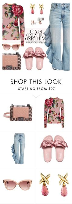 """""""Souped-up slippers"""" by pensivepeacock ❤ liked on Polyvore featuring Chanel, Dolce&Gabbana, Citizens of Humanity, Puma, Linda Farrow, David Yurman and Repossi"""