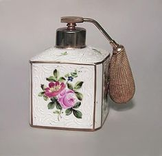 French Victorian blue and gilt trimmed porcelain perfume atomizer with floral design