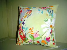 """Spring C"" - Hand Painted pillow - Flower Initial Saw-grass Green - 12X12"