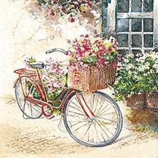 Vintage Flower Bike Decoupage Napkin