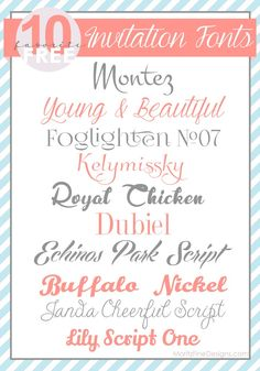 Awesome list of the Top 10 Free Invitation Fonts perfect for wedding invitations, birthday invitations, graduation invitations and more. Cute Fonts, Pretty Fonts, Fancy Fonts, Awesome Fonts, Typography Fonts, Hand Lettering, Cursive Fonts, Typography Design, Photoshop