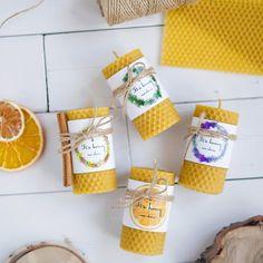 4 pcs Handmade 100% Beeswax Candles Eco-friendly Honeycomb