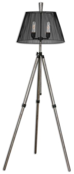 Lamps Armada Tripod Floor Lamp by Uttermost Industrial Floor Lamps, Industrial Furniture, Industrial Style, Uttermost Lighting, Nautical Lamps, Silver Floor Lamp, Light Em Up, Bronze Kitchen, Contemporary Floor Lamps