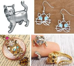 Charming Cat Jewelry #jewelry ring earrings necklace