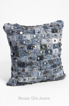 shipping and returns on Mina Victory Button Denim Pillow at . Upcycled waistbands from well-worn jeans compose a distinctive denim pillow for a touch of flea-market chic. Jean Crafts, Denim Crafts, Upcycled Crafts, Sewing Hacks, Sewing Projects, Artisanats Denim, Blue Denim, Recycling, Denim Ideas