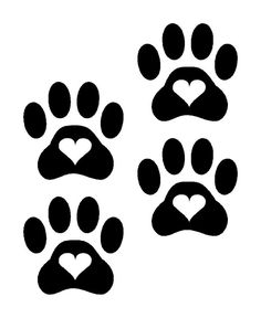 Heart Paw Prints Dog Cat Vinyl Decals Stickers 4 set puppy cute animal car love #CAT #carandtruck