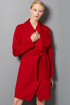Snuggle into this ravishing red #BOSS wrap coat for the winter #SaksStyle