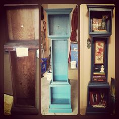 Grandfather clock cabinet repurposed into a bookcase....all in a days work! <3