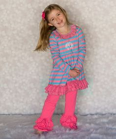 Another great find on #zulily! Blue & Pink Monogram Dress & Pants - Infant, Toddler & Girls by Princess Linens #zulilyfinds