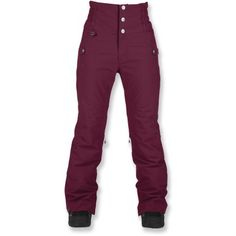 Bonfire Taylor Insulated Pants from REI. I like how these come up higher on the waist (no plumbers crack down the slopes, or snow down pants.) You could also attach suspenders if they puddle at the waist.