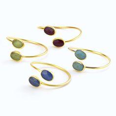 Oval double stone 24k gold plated bracelet. Adjustable - TUB23159 www.christianlivingston.com