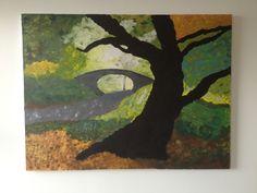 Painting of Central Park bridle path bridge