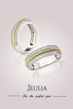 Jeulia Two Tone Celtic Round Cut White Sapphire Women's Wedding Band. For The Perfect You! #Wedding#Jewelry#Rings