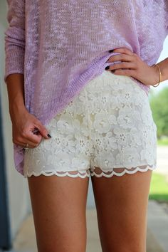 Lace Scalloped Shorts | The Rage