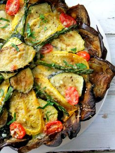 I hate eggplant and this recipe makes me want to give eggplant a second chance. Roasted vegetable tart with eggplant crust. Easy, pretty, delicious, and GF. Vegetable Recipes, Vegetarian Recipes, Cooking Recipes, Healthy Recipes, Budget Cooking, Oven Recipes, Vegetarian Cooking, Easy Cooking, Easy Recipes