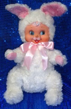 Vintage Rubber Face Bunny Rabbit Rushton Stuffed Old Antique Easter