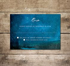 Night Sky Landscape Wedding Invitation RSVP by Soumya's Invitations