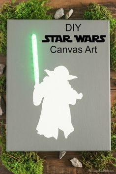 DIY Star Wars Lighted Canvas Art - Baby Star Wars - Ideas of Baby Star Wars - Create a DIY Star Wars Lighted Canvas Art that is super cool! You can make your own just in time before the new Star Wars movie comes to theaters. Star Wars Crafts, Star Wars Decor, Star Wars Birthday, Star Wars Party, 23rd Birthday, Diy Birthday, Star Wars Weihnachten, Diy Star, Decoracion Star Wars