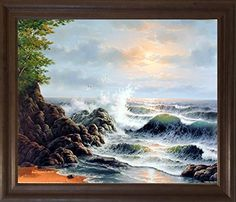 Add life to your dull interiors with this stunning nature inspired ocean waves crashing surf on rock wall scenic framed art poster. This beautiful framed art poster captures the image of ocean crashing waves on rocks which surely grabs lot of attention and also helps to revamp the interiors of your living room. Its wooden brown rust frame accentuates the poster mild tone. The frame is made from solid wood measuring 19x23 inches with a smooth gesso finish.