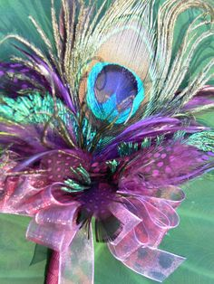 Peacock Corsage or Hat Pin in purple plum by HappilyFeatherAfter