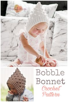 Oh My Goodness is this hat cute. Crochet Baby Clothes, Newborn Crochet, Crochet Baby Hats, Crochet Beanie, Crochet Yarn, Quick Crochet, Cute Crochet, Bonnet Pattern, Bobble Stitch