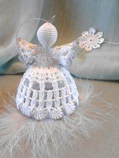 Christmas white cotton crochet angel-made for order Christmas