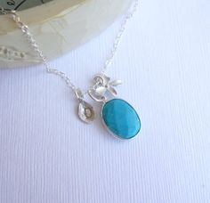 Silver Framed Turquoise Stone Necklace with Orchid and Initial Leaf on Sterling Silver Chain
