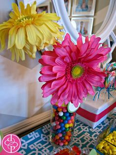 Gumball filled flower vase - clever design to allow access to big kids only! Candy buffet for 1st birthday | posh productions, LLC