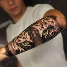 Arm tattoo for men - cool motifs and tattoos for men - Tiger tattoo with green . - Arm tattoo for men – cool motifs and tattoos for men – Tiger tattoo with green eyes on outside - Tiger Eyes Tattoo, Tiger Tattoo Sleeve, Tiger Tattoo Design, Forearm Tattoo Design, Forearm Tattoo Men, Sleeve Tattoos, Lion Sleeve, Wolf Sleeve, Forearm Tattoo Sleeves