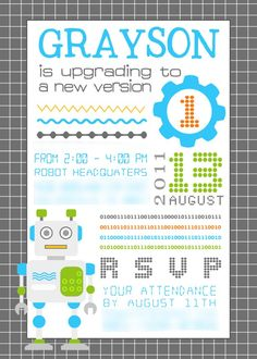 Robot party invitations template party invitations birthdays and robot birthday invitation upgrading to version 10 or 20 or filmwisefo Gallery