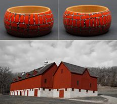 """Unique hand painted - Dot Painting technique - wooden bracelet """"Agrarian Reform"""" by Matilda-Dolls & Bracelets http://www.matilda-dolls.com/ (Inspired with unique Big Red Barns - the """"Luther College Farm"""", well maintained barns on the campus area of Luther College in Decorah, Iowa, USA; Photo: Mike Kohlbauer)"""