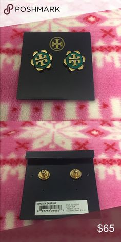"""Tory Burch Walter earrings BRAND NEW Brand new sold out where. Celeb favorite!  Angular gold petals bloom from the peachy core of logo-centered studs with warm elegance. Post back. Approx. diameter: 1/2"""". Resin/16k-gold plate/surgical-steel post. Teal and gold color Tory Burch Jewelry Earrings"""