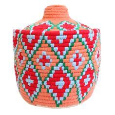 Moroccan baskets, orange, red, handmade, wool, one of a kind, boho