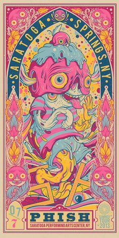 Phish Saratoga Springs gig poster, art by Drew Millward