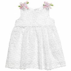 Baby Girls White Embroidered Organza Dress