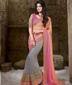 Buy Peach Georgette Party Wear Saree 70833 with blouse online at lowest price from vast collection of sarees at Indianclothstore.com.