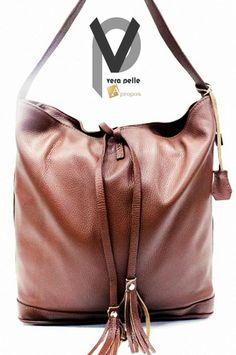Vera Pelle Beuteltasche 30cm Leder Handtasche Schultertasche Trageriemen Apropos
