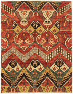 Suzani & Ikat Designs Gallery: Ikat Design Rug, Hand-knotted in Afghanistan; size: 6 feet 1 inch(es) x 7 feet 7 inch(es)