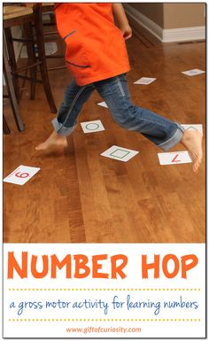 Number hop {gross motor number game} - Gift of Curiosity Learning Numbers Preschool, Motor Skills Activities, Counting Activities, Preschool Learning Activities, Gross Motor Skills, Physical Activities, 3 Year Old Preschool, Therapy Activities, Educational Activities