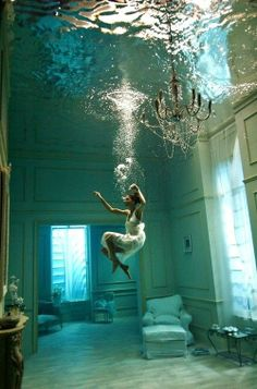 I am water-brought.   I float up to the cathedral ceiling   toward a last lungful of air.  __ © Kate Bernadette Benedict