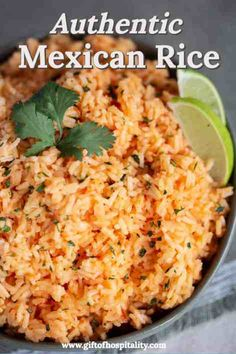 Authentic Mexican Rice is an easy side dish for any meal, especially tacos, fajitas, or enchiladas! The recipe is from my co-worker who grew up in Mexico, and it tastes just like it does at the restaurant! Rice Recipes For Dinner, Mexican Dinner Recipes, Mexican Dishes, Mexican Desserts, Mexican Menu, Mexican Night, Mexican Cooking, Gourmet Desserts, Mexican Style