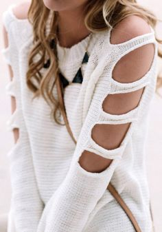 sweater girl cut-out cut cutout sweater white white sweater off the shoulder off the shoulder sweater tumblr tumblr girl tumblr clothes blouse cardigan necklace clothes sweater/sweatshirt girly white top revealing jewels shirt whit jumper cut-out