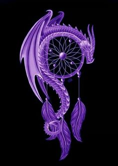 Purple dragon dream catcher tattoo. Such a beautiful and intricate tattoo for anyone looking for a tattoo.