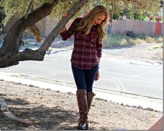 Fall OOTD ( Plaid & Riding Boots )
